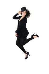 Young woman dancing modern dance, isolated