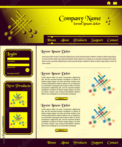 Website template design brown gold