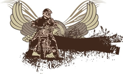 Grunge Motorcycle & Wings Background