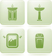 Cobalt Square 2D Icons Set: Bathroom