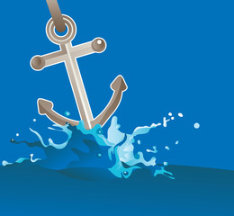 anchor in water - vector illustration