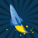 space cartoon rocket - vector illustration