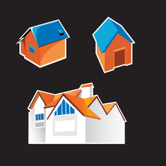 set of 3 house icons
