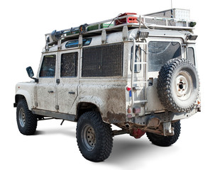 Muddy well equiped off-road car. Clipping path included.