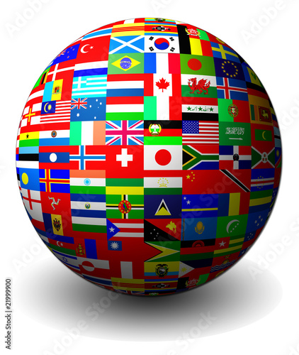 Flags of countries set in a sphere