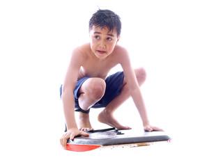 boy riding on the body board