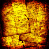 Ancient crumpled abstract background with handwrite text for des poster