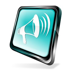 Blue 3d announcement icon