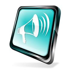 Blue 3d announcement icon