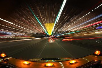 Speed Driving in Los Angeles With Bright City Lights