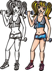 Girl with beautiful bowknot raise to dumbbells.
