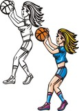 Girl with ball plays basketball.