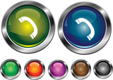 Vector collection icons with phone sign, empty button included