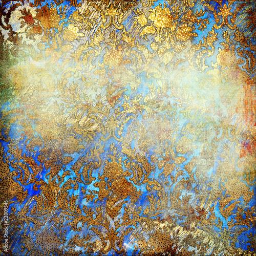 Keuken foto achterwand Vlinders in Grunge shabby golden-blue background