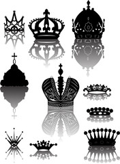 ten crowns with reflections