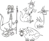 Dragon with a spear. Funny dragons. poster