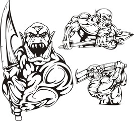 The goblin with a sword and the goblin with a spear.