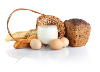 Baking ingredients in basket