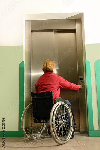 Handicapped using elevator