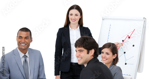 Elegant woman doing a presentation