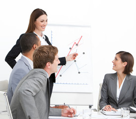 Confident woman doing a presentation