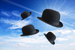 Flying bowler hats