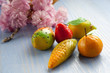 mix marzipan fruits sicily traditional dessert