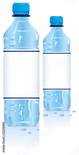 Plastic water bottles with blank label