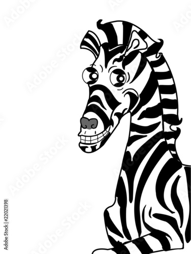 zebra.isolated white.happy