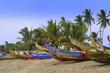 Leinwanddruck Bild - Bunt bemalte Fischerboote