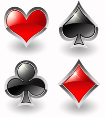Glossy playing card symbols