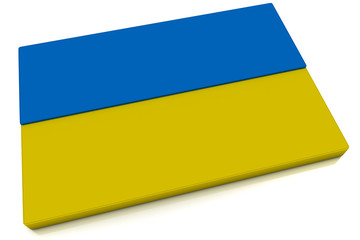 3D Ukraine Flag Button