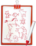 Handwriting style animal drawings poster