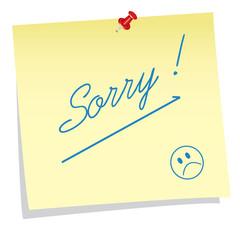 Sticky note sorry