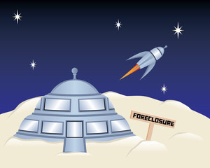 Foreclosed Moon House with Rocket