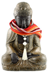 Bouddha, collier, étole, fond blanc