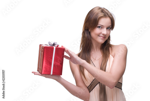Closeup portrait of beautiful girl with some gifts