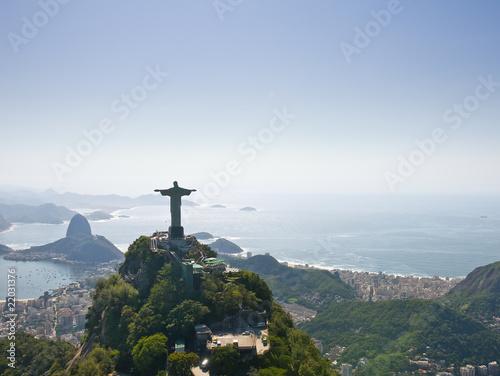 Leinwanddruck Bild Dramatic Aerial view of Rio De Janeiro