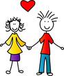 Mädchen und Junde mit Herz