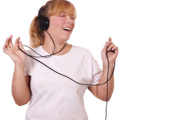 singing to music with headphones