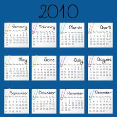 Blue calendar for 2010