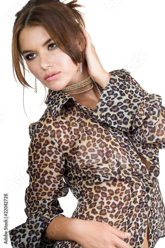 woman in leopard blouse