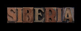 the word Siberia in old wood type