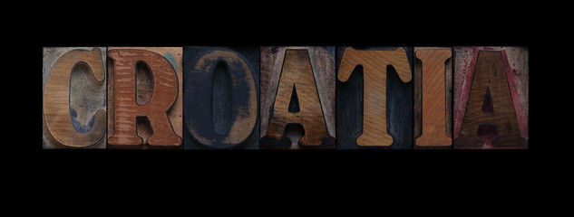 the word Croatia in old wood type