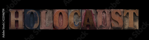 the word holocaust in old wood type