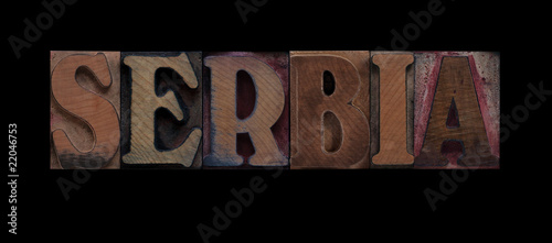 the word Serbia in old wood type