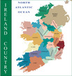 Ireland map and country with names.