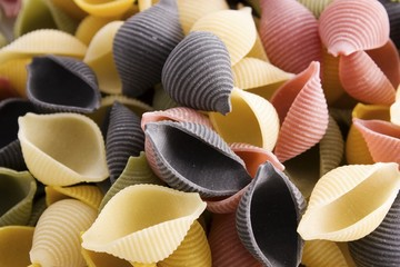 Colorful Pasta Shells Background