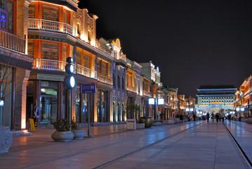 Beijing Qianmen old shopping street at night