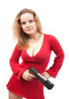 girl in red dress with gun